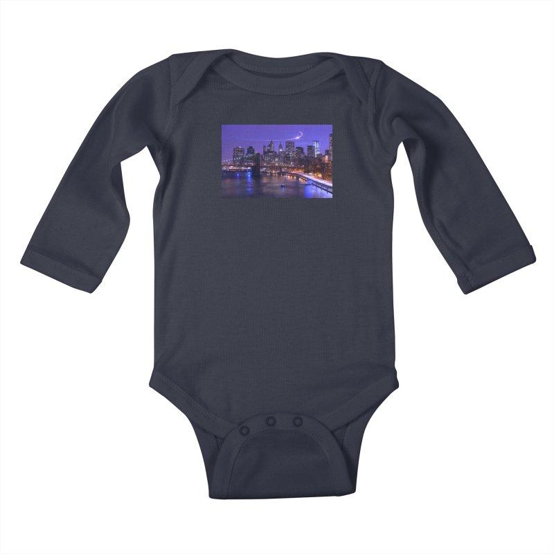 Purple City - NY Kids Baby Longsleeve Bodysuit by Cappytann's Artist Shop