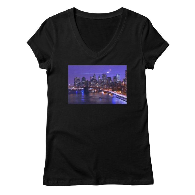 Purple City - NY Women's V-Neck by Cappytann's Artist Shop