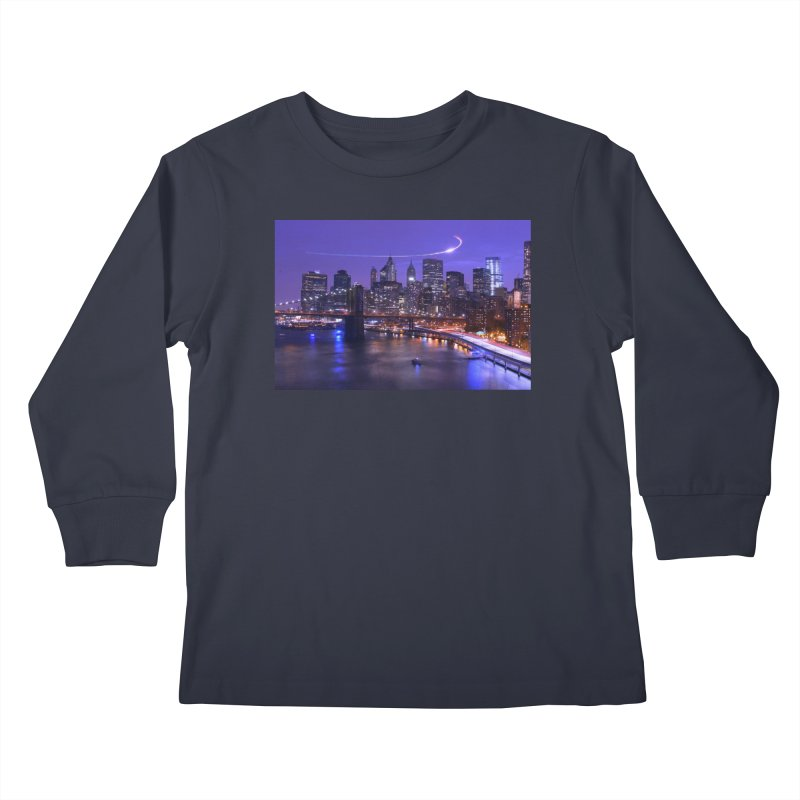 Purple City - NY Kids Longsleeve T-Shirt by Cappytann's Artist Shop