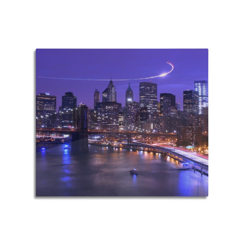 Purple City - NY Home Mounted Aluminum Print by Cappytann's Artist Shop