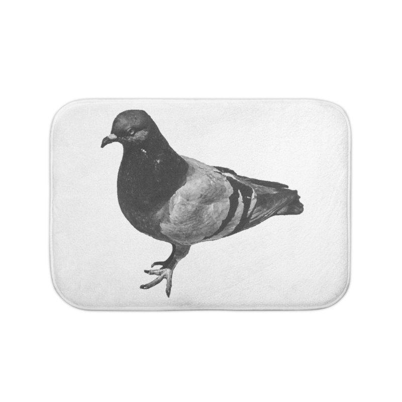 Concrete Pigeon White Home Bath Mat by Cappytann's Artist Shop