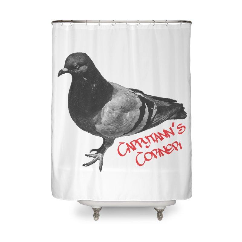 Concrete Pigeon Red Home Shower Curtain by Cappytann's Artist Shop