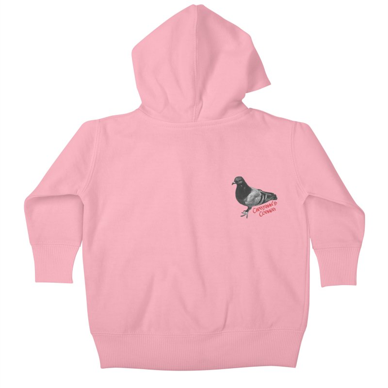 Concrete Pigeon Red Kids Baby Zip-Up Hoody by Cappytann's Artist Shop