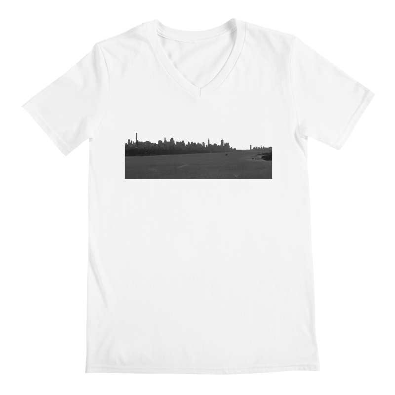 NYC from GWB BW Men's V-Neck by Cappytann's Artist Shop