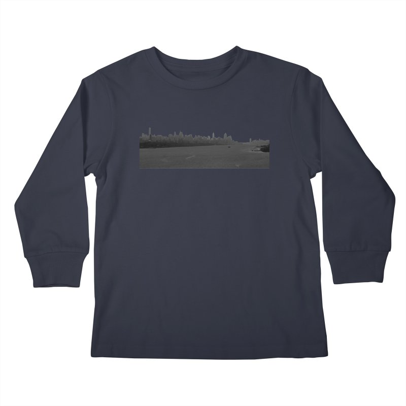 NYC from GWB BW Kids Longsleeve T-Shirt by Cappytann's Artist Shop