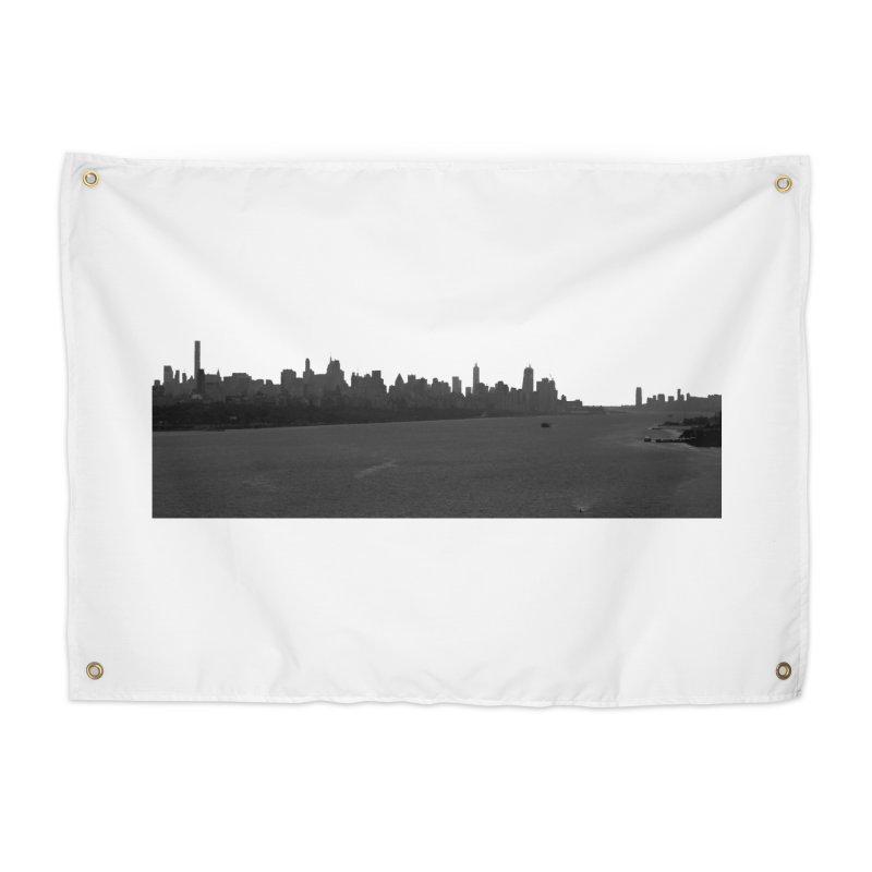 NYC from GWB BW Home Tapestry by Cappytann's Artist Shop
