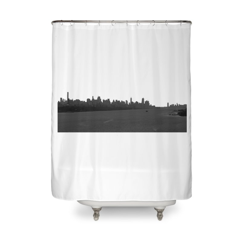 NYC from GWB BW Home Shower Curtain by Cappytann's Artist Shop