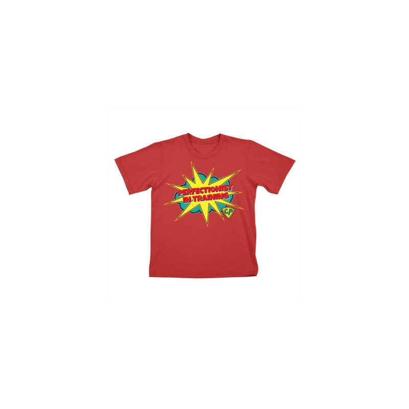 Perfectionist in Training T-Shirt with Logo Kids T-Shirt by Captain Perfection's Store