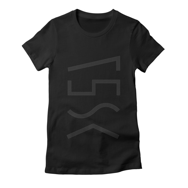 Synth Waves Black on Black Women's Fitted T-Shirt by 11th Planet LLC