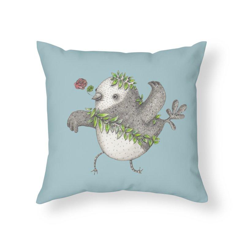 Flamenco Bird Home Throw Pillow by caratoons's Shop
