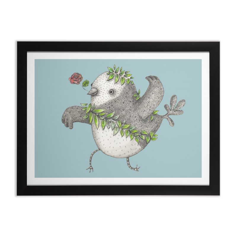 Flamenco Bird Home Framed Fine Art Print by caratoons's Shop