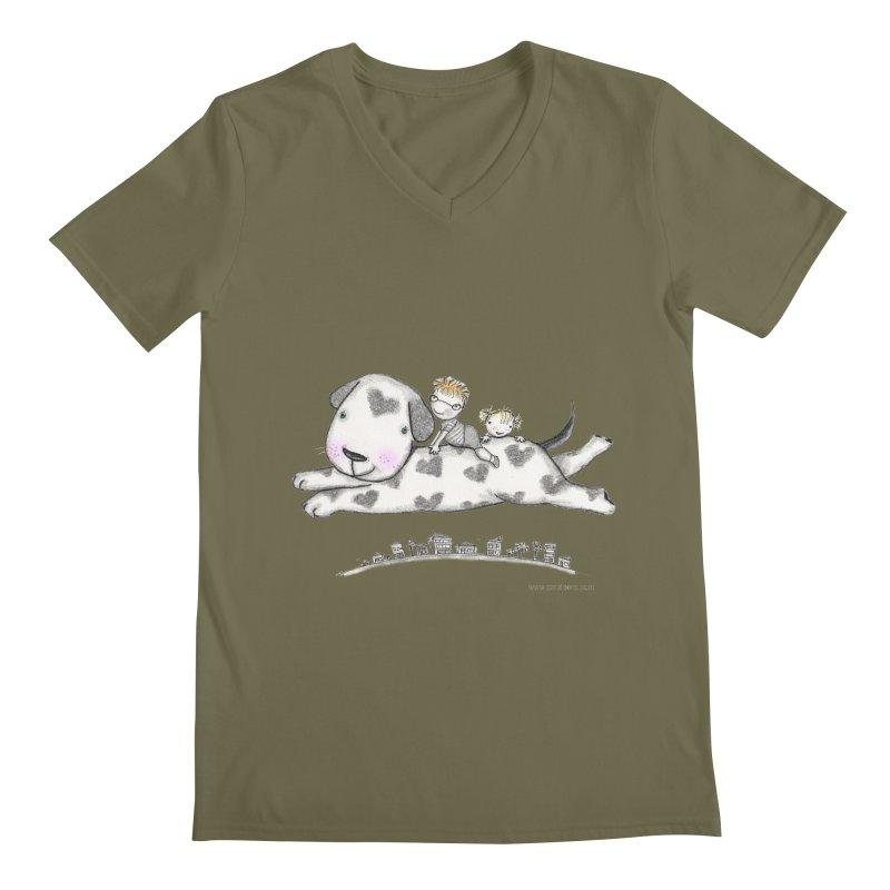 Big Dog Adventure Men's V-Neck by caratoons's Shop