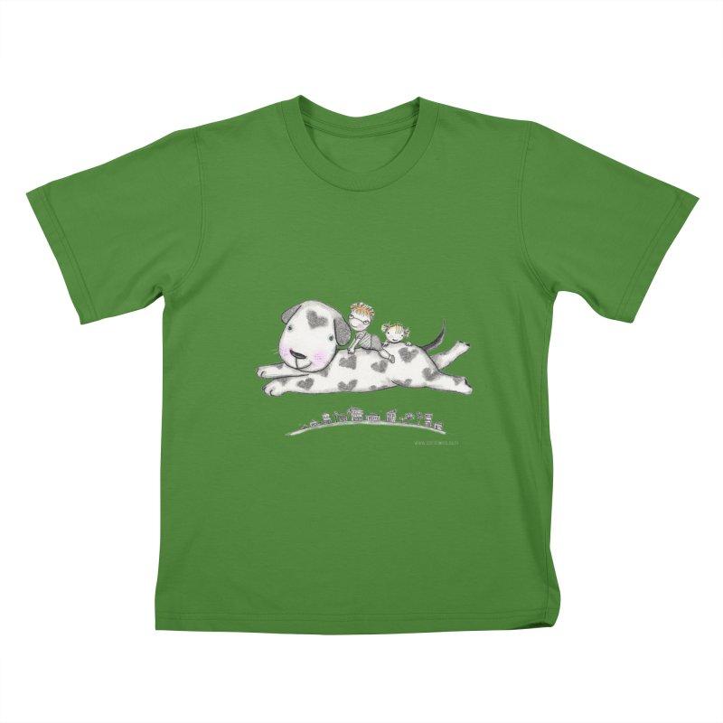 Big Dog Adventure Kids T-shirt by caratoons's Shop