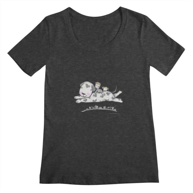 Big Dog Adventure Women's Scoopneck by caratoons's Shop