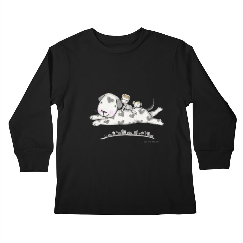 Big Dog Adventure Kids Longsleeve T-Shirt by caratoons's Shop
