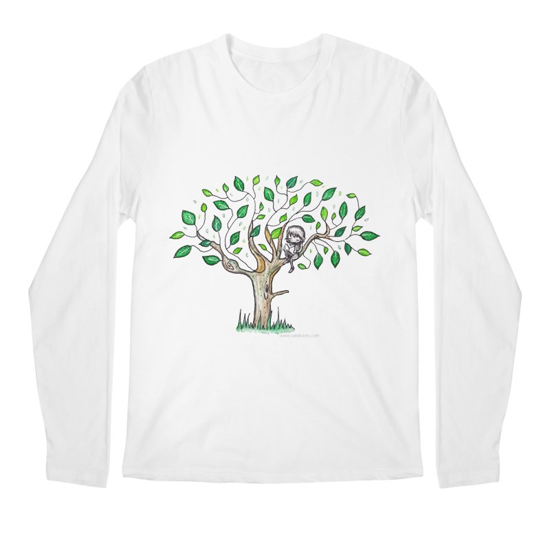 Book in a leafy spot Men's Regular Longsleeve T-Shirt by caratoons's Shop