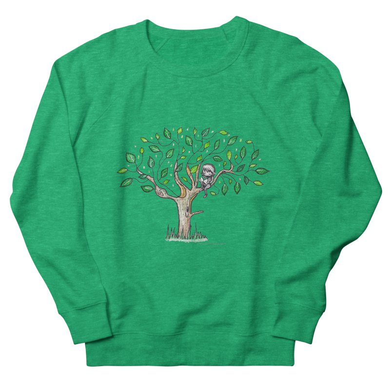 Book in a leafy spot Men's French Terry Sweatshirt by caratoons's Shop