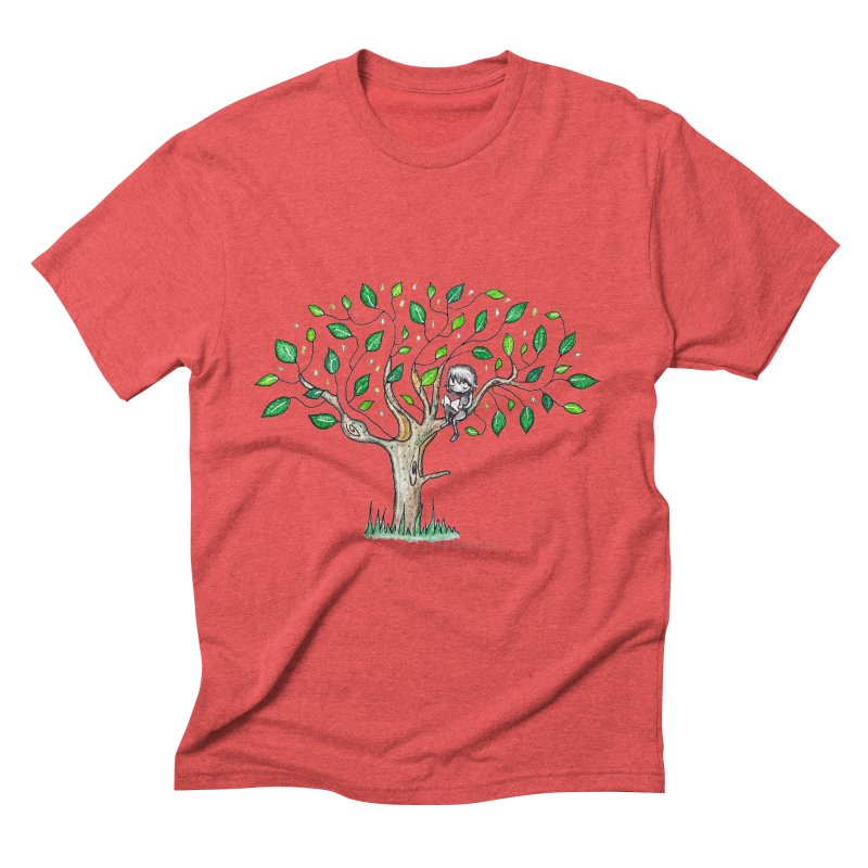 Book in a leafy spot Men's Triblend T-Shirt by caratoons's Shop