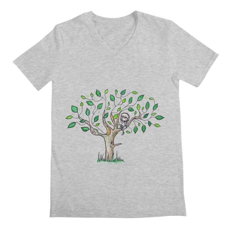 Book in a leafy spot Men's V-Neck by caratoons's Shop