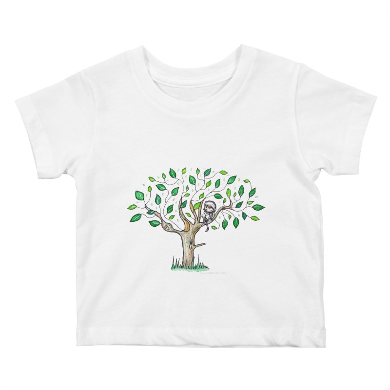Book in a leafy spot Kids Baby T-Shirt by caratoons's Shop