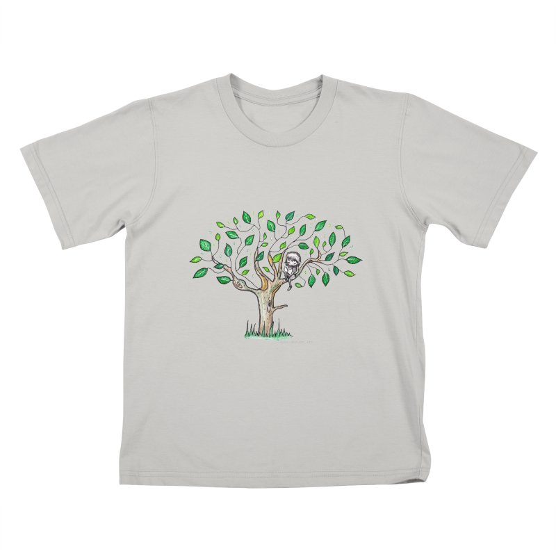 Book in a leafy spot Kids T-Shirt by caratoons's Shop