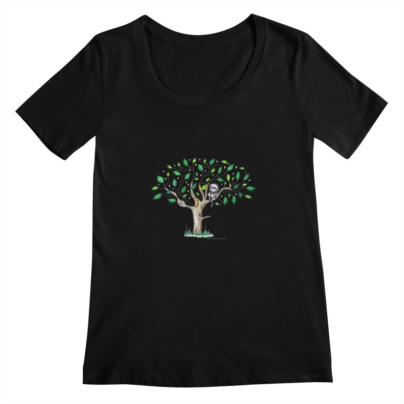 Book in a leafy spot Women's Scoopneck by caratoons's Shop