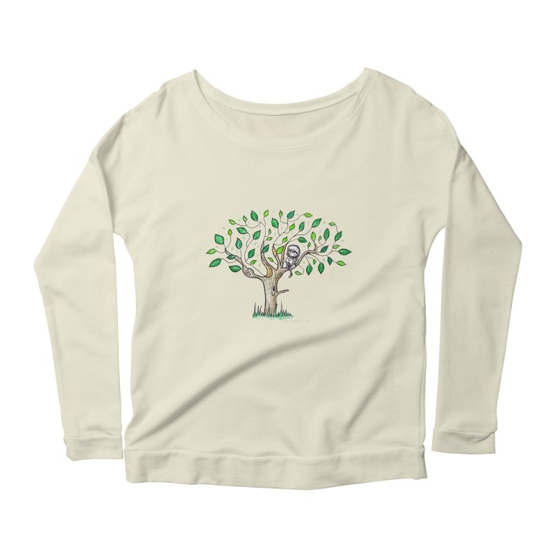 Book in a leafy spot Women's Scoop Neck Longsleeve T-Shirt by caratoons's Shop