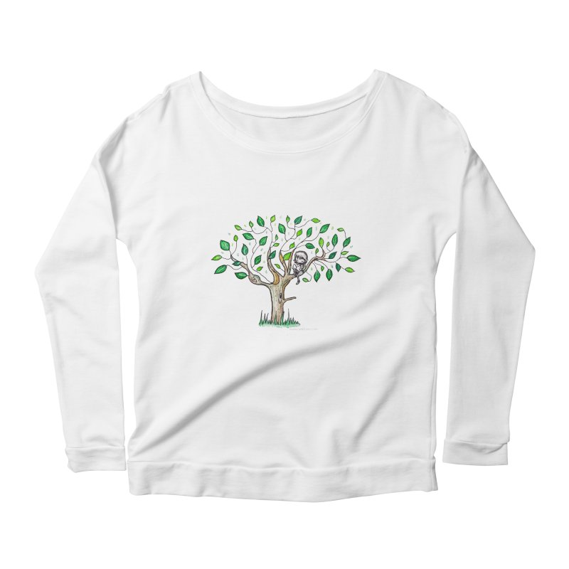 Book in a leafy spot Women's Scoop Neck Longsleeve T-Shirt by caratoons's Shop