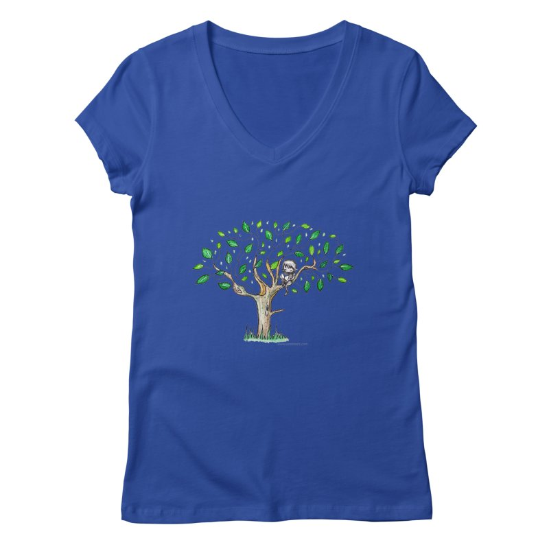 Book in a leafy spot Women's Regular V-Neck by caratoons's Shop