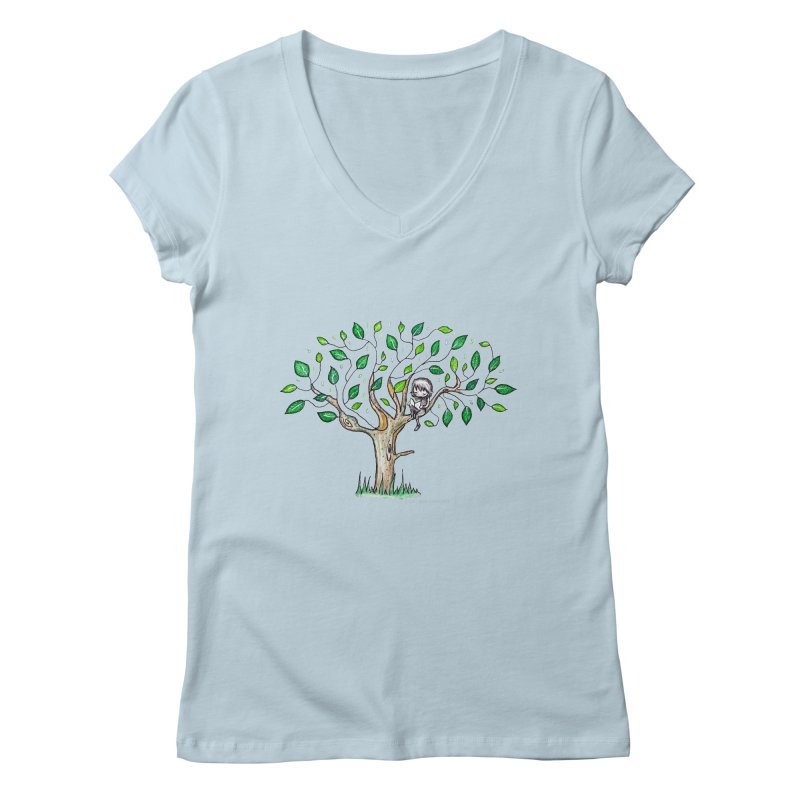 Book in a leafy spot Women's V-Neck by caratoons's Shop