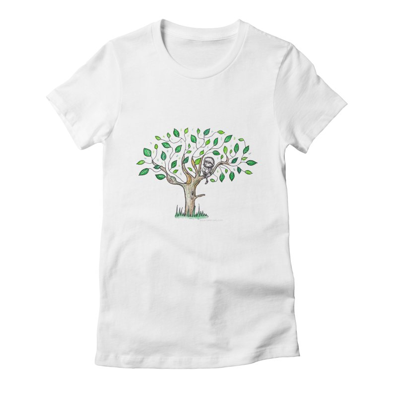 Book in a leafy spot Women's Fitted T-Shirt by caratoons's Shop