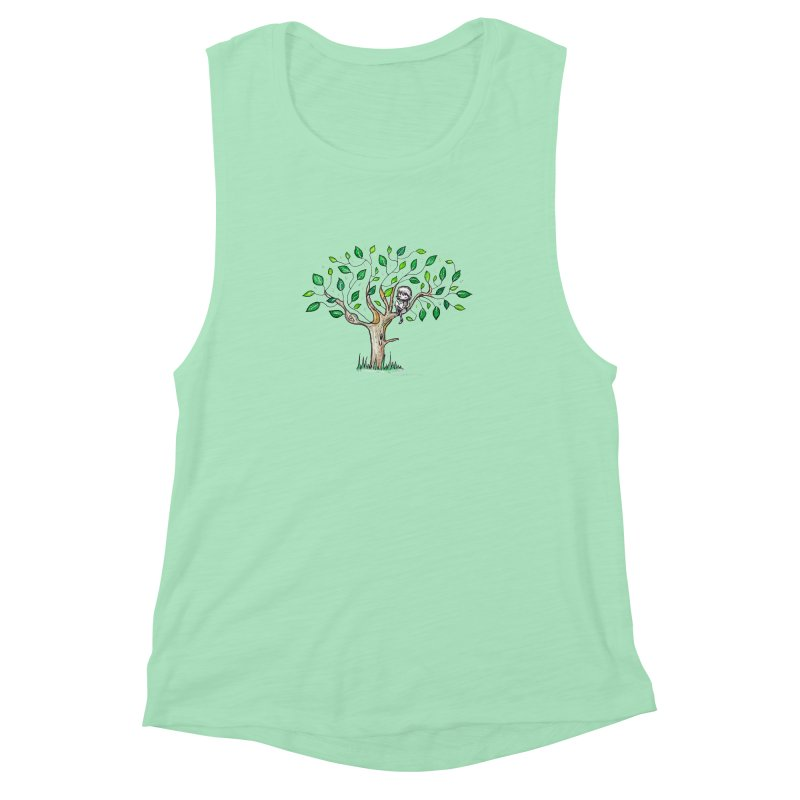 Book in a leafy spot Women's Muscle Tank by caratoons's Shop