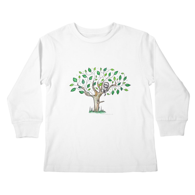 Book in a leafy spot Kids Longsleeve T-Shirt by caratoons's Shop