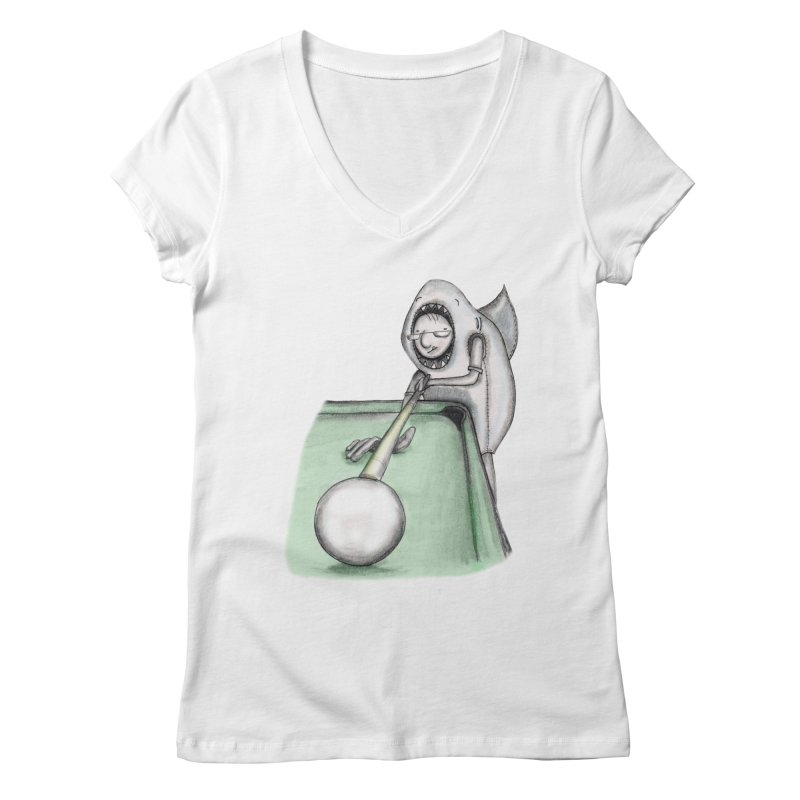 Pool Shark Women's V-Neck by caratoons's Shop