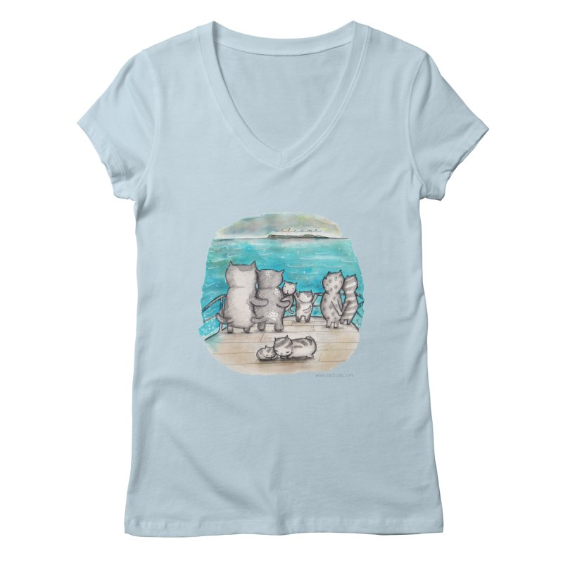 Welcome Refugees Women's Regular V-Neck by caratoons's Shop