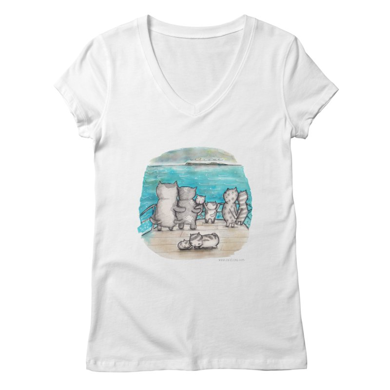 Welcome Refugees Women's V-Neck by caratoons's Shop