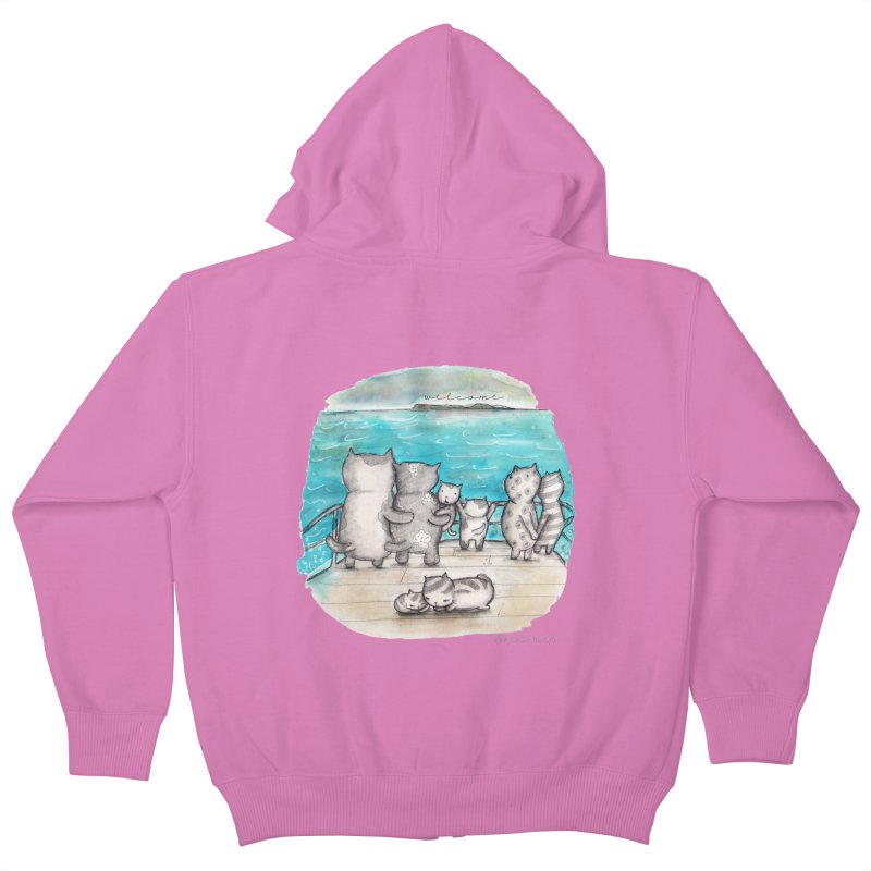 Welcome Refugees Kids Zip-Up Hoody by caratoons's Shop