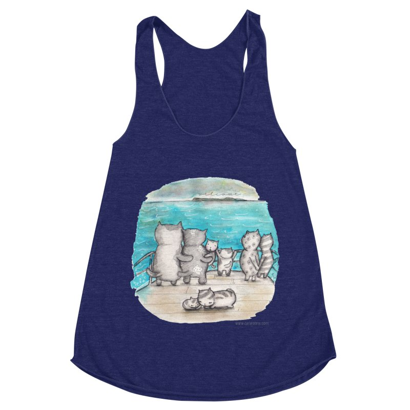 Welcome Refugees Women's Racerback Triblend Tank by caratoons's Shop