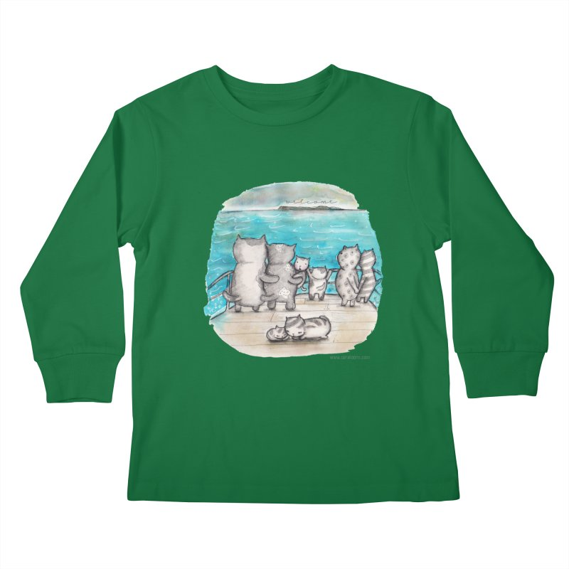 Welcome Refugees Kids Longsleeve T-Shirt by caratoons's Shop