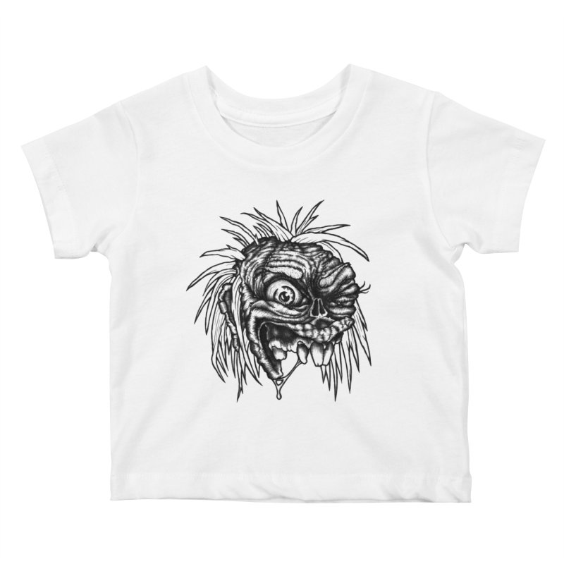 Zombie Head II Kids Baby T-Shirt by Carden Illustration