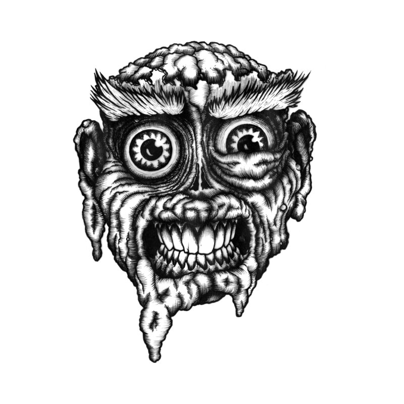 Zombie Head III by Carden Illustration
