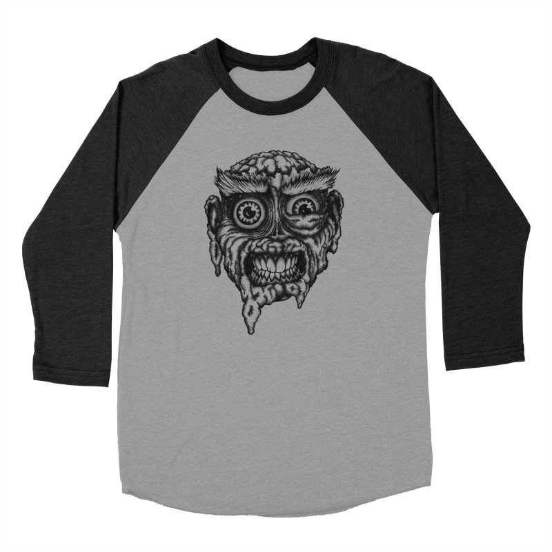 Zombie Head III in Men's Baseball Triblend Longsleeve T-Shirt Heather Onyx Sleeves by Carden Illustration