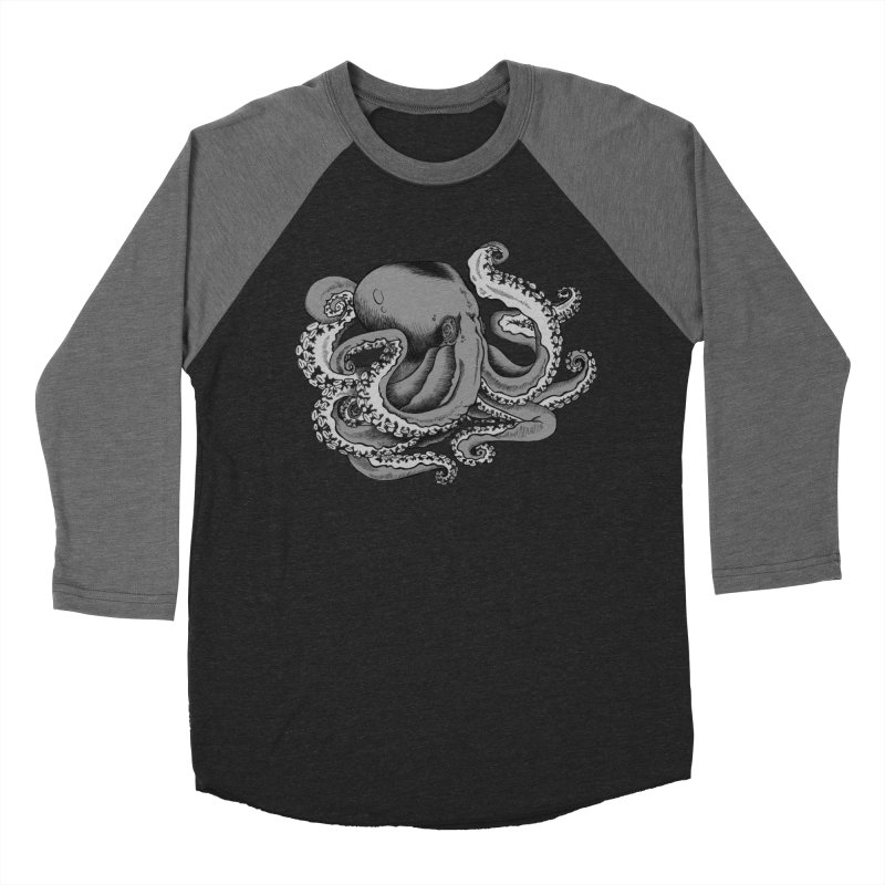 Octopus in Men's Baseball Triblend Longsleeve T-Shirt Grey Triblend Sleeves by Carden Illustration