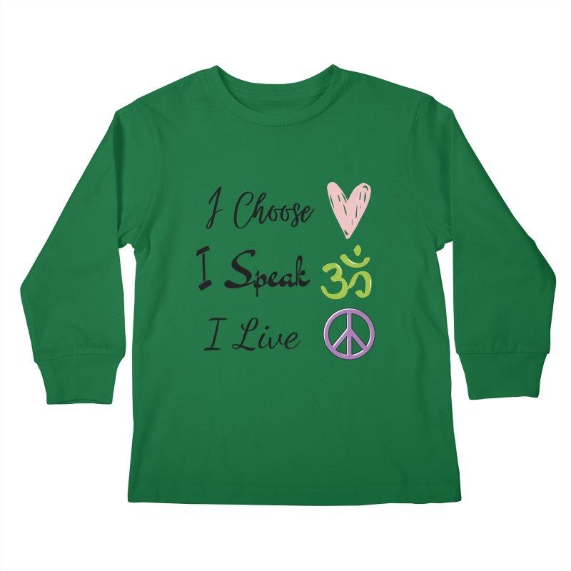 Love. OM. Peace. Kids Longsleeve T-Shirt by C.A.R.E. Gear! by C.A.R.E. Holistic Center