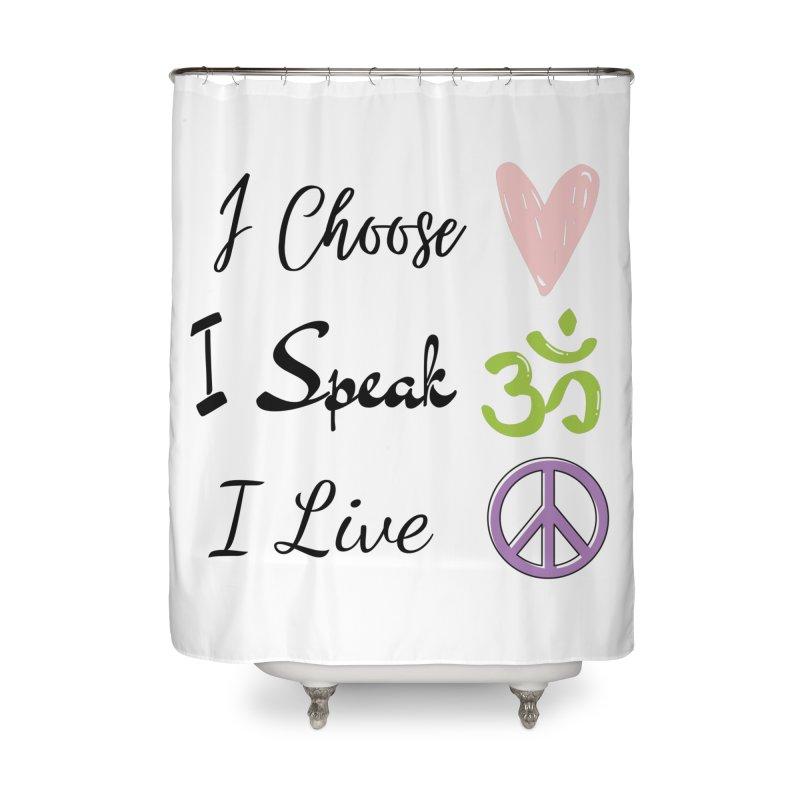 Love. OM. Peace. Home Shower Curtain by C.A.R.E. Gear! by C.A.R.E. Holistic Center