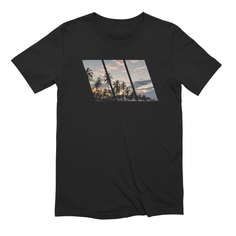 Sunset Beach Slants in Men's Extra Soft T-Shirt Black by Caribea