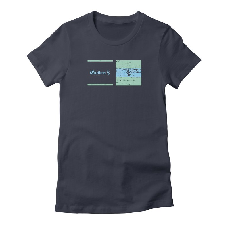 Beach Squares Turquoise Women's Fitted T-Shirt by Caribea