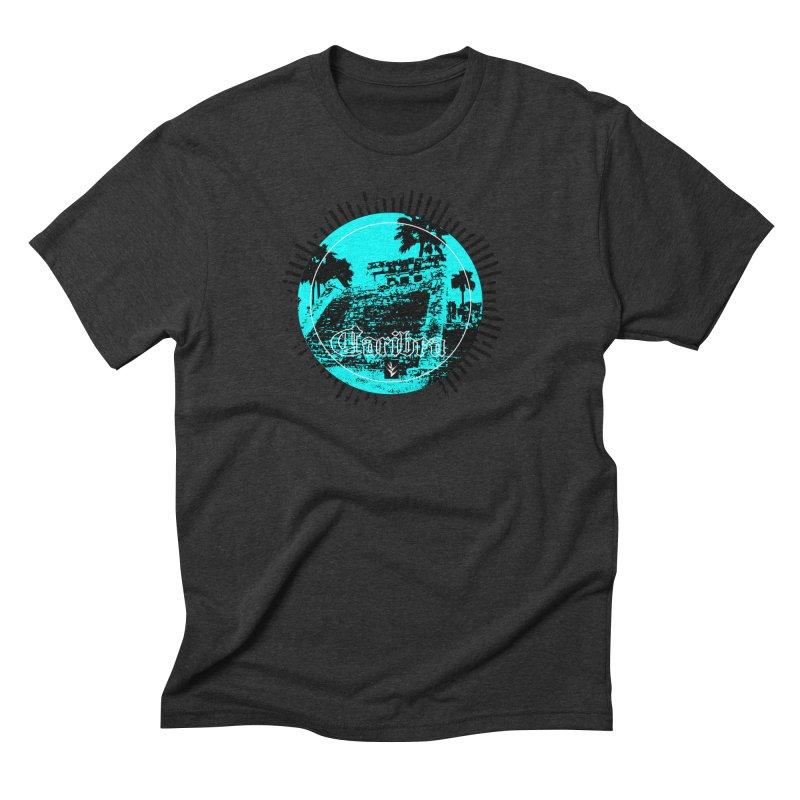 Blue Pyramid Grunge Men's Triblend T-Shirt by Caribea