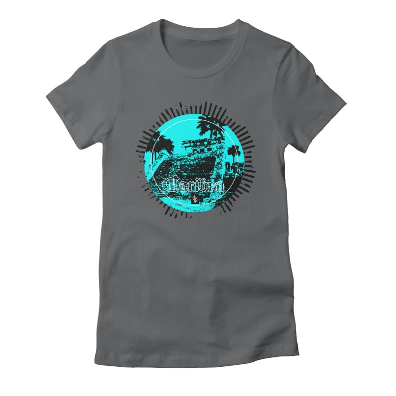 Blue Pyramid Grunge Women's Fitted T-Shirt by Caribea