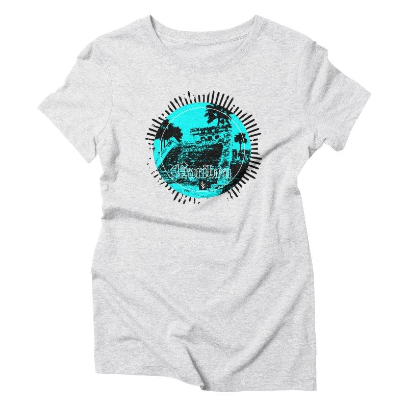 Blue Pyramid Grunge Women's Triblend T-Shirt by Caribea